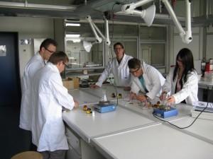 Schüler arbeiten mit den Elektrochemie-Baukästen