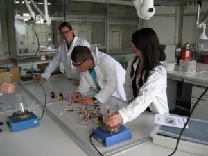 Timo und Lisa-Marie arbeiten mit den Elektrochemie-Baukästen